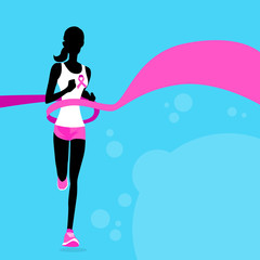 Sport Woman Running Pink Ribbon Breast Cancer Awareness Joggin