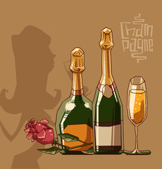 Vector bottle and glass of champagne on a light brown background. The text is written in curves.
