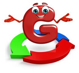 Cartoon Character of alphabet G with arrow