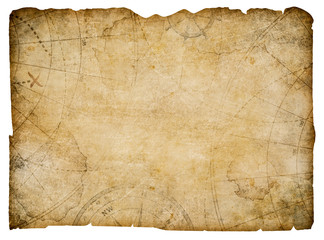 old nautical treasure map isolated on white