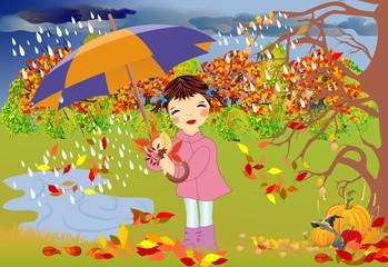 jesienny spacer w deszczu,