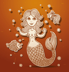 Vector mermaid on a light brown background.