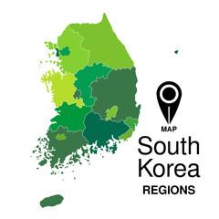 Regions map of South Korea. South Korea