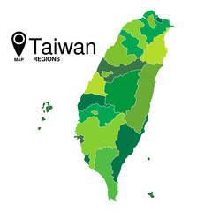 Regions map of Taiwan. Taiwan