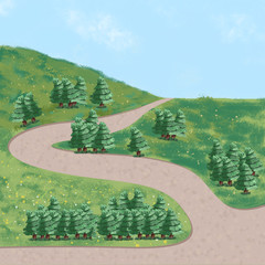 Green spruce tree painting background illustration