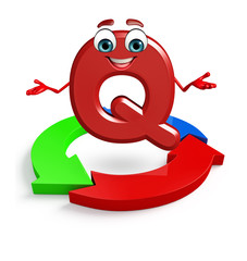 Cartoon Character of alphabet Q with arrow