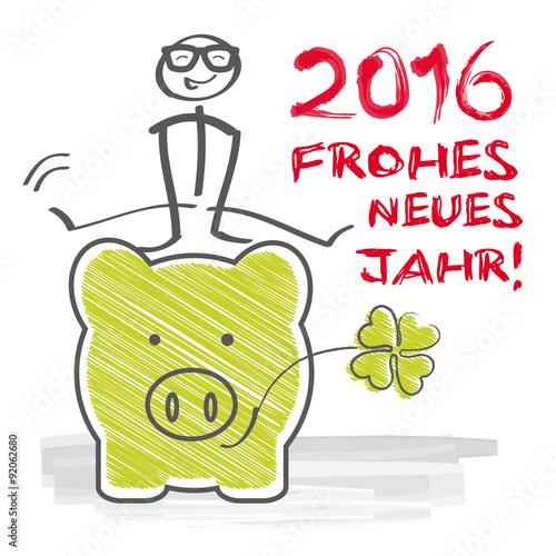 2016 Frohes neues Jahr Klee und Glücksschwein\