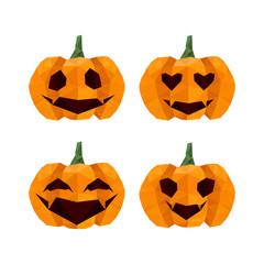 Illustration of funny halloween, origami pumpkins emoticons
