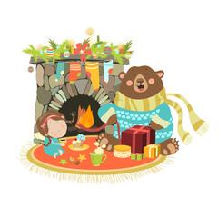 Little angel cute bear sitting near a fireplace