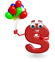 Cartoon Character of alphabet S with balloons