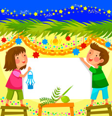 kids celebrating Sukkot in a decorated booth