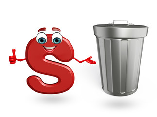 Cartoon Character of alphabet S with dustbin