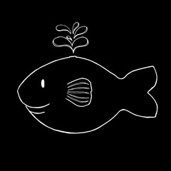 Smile Whale Illustration in white on black background