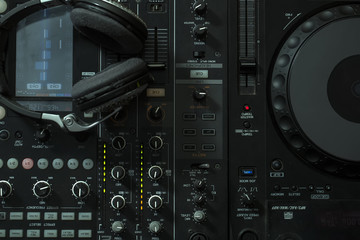 Mixer console and headphones