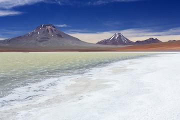 Desert lake Laguna Lejia, Altiplano, Chile on a sunny day