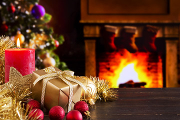 Christmas scene with fireplace and Christmas tree