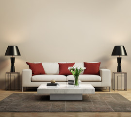 Beige contemporary modern sofa with red cushions