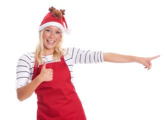 Weihnachtsfrau zeigt Daumen hoch