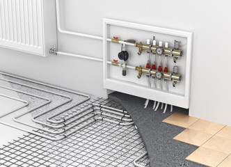 Underfloor heating with collector and radiator in the room. Conc