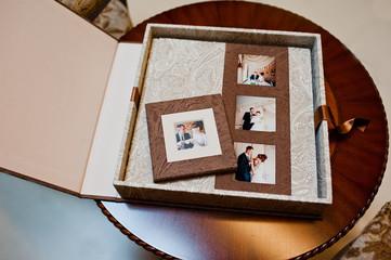 textile wedding photo book and album