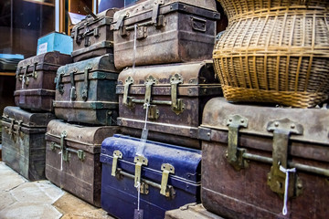 storehouse of old suitcases