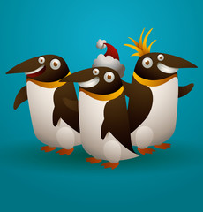 Vector three funny penguins on a blue background.