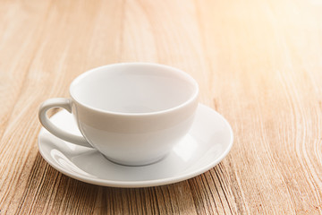 coffee cup empty on wood background