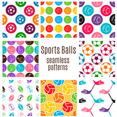 Set of sports balls seamlless pattern.