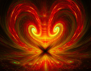 illustration of a fractal background with bright heart with an a