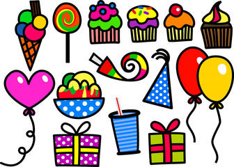 A set of cartoon birthday party objects and doodles including cupcakes and balloons.