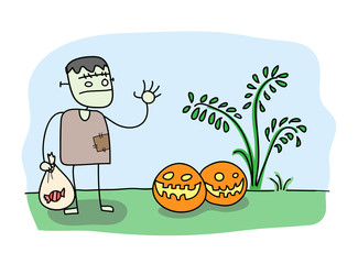 Trick or Treat, a hand drawn vector illustration of a zombie holding a bag of candy doing trick or treat with Halloween pumpkins (editable).