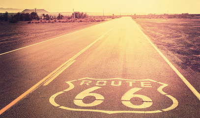 Poster Route 66 Vintage filtered sunset over Route 66, California, USA.