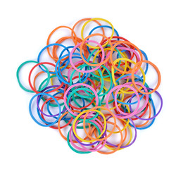 pile of colorful rubber bands isolated on white.