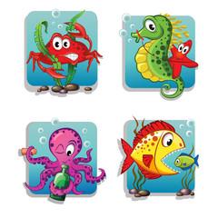 Set of cute cartoon sea animals. Crab, seahorse, starfish, octopus, fishes