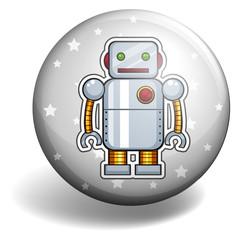 Tin robot on round badge