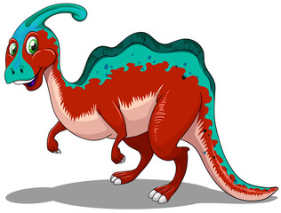 Cute red and blue dinosaur on white