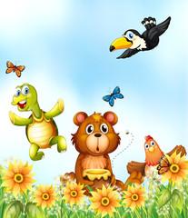 Animals in the flower garden
