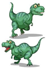Green dinosaurs on white