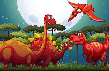Red dinosuars under full moon in nature
