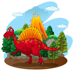 Red dinosaur with volcano behind