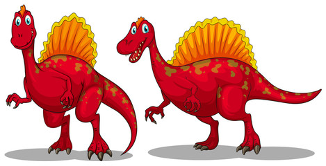 Red dinosaurs with sharp teeth
