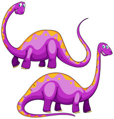 Two purple dinosaurs smiling