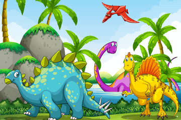 Foto auf Leinwand Dinosaurier Dinosaurs living in the jungle