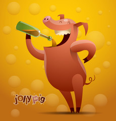 Vector jolly beer-drinking pig on an orange (beer) background. The text is written in curves.