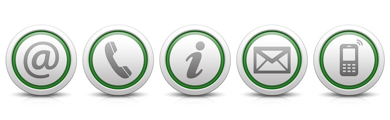 Contact Us – Set of light gray buttons with reflection & green