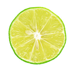 Limes with slices on white background