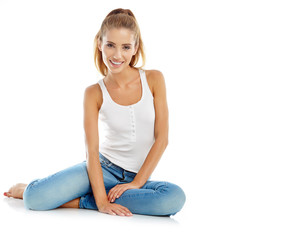 beautiful girl in fashion stylish jeans - isolated on white. Fas