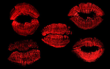 set of  five red lips imprint isolated on black