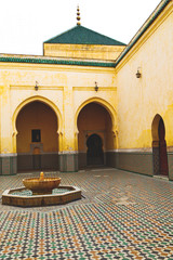 fountain in morocco antique construction  mousque palace