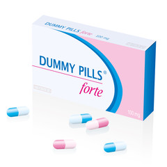 Dummy pills box, a medical fake product. Isolated vector illustration over white background.